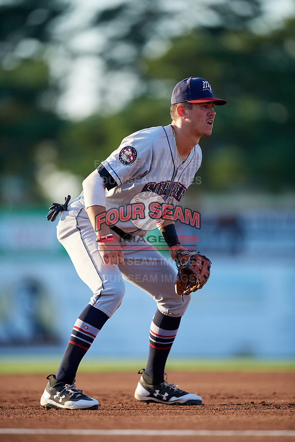 Mahoning Valley Scrappers third baseman Nolan Jones (10) during a game against the Batavia Muckdogs on August 16, 2017 at Dwyer Stadium in Batavia, New York.  Batavia defeated Mahoning Valley 10-6.  (Mike Janes/Four Seam Images)