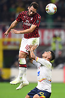 Hakan Calhanoglu-Filippo Falco<br /> Milano 20/10/2019 Stadio Giuseppe Meazza <br /> Football Serie A 2019/2020 <br /> AC Milan - Lecce <br /> Photo Image Sport / Insidefoto