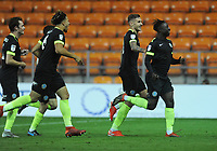 Macclesfield Town's Virgil Gomis (right) celebrates scoring his side's second goal with team-mates<br /> <br /> Photographer Kevin Barnes/CameraSport<br /> <br /> The Carabao Cup First Round - Blackpool v Macclesfield Town - Tuesday 13th August 2019 - Bloomfield Road - Blackpool<br />  <br /> World Copyright © 2019 CameraSport. All rights reserved. 43 Linden Ave. Countesthorpe. Leicester. England. LE8 5PG - Tel: +44 (0) 116 277 4147 - admin@camerasport.com - www.camerasport.com