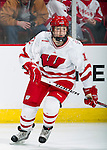Wisconsin Badgers Kelly Jaminski (12) warms up prior to an NCAA tournament game against the Minnesota Duluth Bulldogs at the Kohl Center in Madison, Wisconsin on March 12, 2011. Wisconsin won 2-1. (Photo by David Stluka)