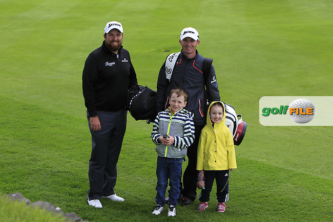 Shane Lowry (IRL) with Dermot Byrne and his two children on the 11th during Tuesday's Practice round of the Dubai Duty Free Irish Open Trophy at The K Club, Straffan, Co. Kildare<br /> Picture: Golffile | Thos Caffrey<br /> <br /> All photo usage must carry mandatory copyright credit <br /> (&copy; Golffile | Thos Caffrey)