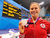 LONDON, ENGLAND 09/01/2012:  Valerie Grand'Maison receiving her Silver Medal in the Women's 50m Freestyle Final - S13 at the London 2012 Paralympic Games in Aquatic Centre. (Photo by Matthew Murnaghan/Canadian Paralympic Committee)