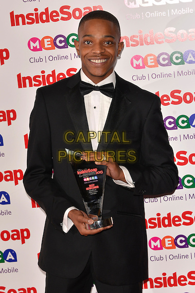 Khali Best<br /> Inside Soap Awards at Ministry Of Sound, London, England.<br /> 21st October 2013<br /> half length black tuxedo white shirt award trophy winner <br /> CAP/PL<br /> &copy;Phil Loftus/Capital Pictures