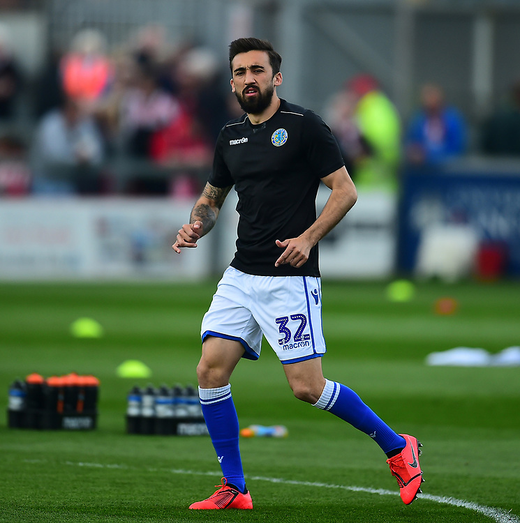 Macclesfield Town's Stelios Demetriou during the pre-match warm-up<br /> <br /> Photographer Andrew Vaughan/CameraSport<br /> <br /> The EFL Sky Bet League Two - Lincoln City v Macclesfield Town - Saturday 30th March 2019 - Sincil Bank - Lincoln<br /> <br /> World Copyright © 2019 CameraSport. All rights reserved. 43 Linden Ave. Countesthorpe. Leicester. England. LE8 5PG - Tel: +44 (0) 116 277 4147 - admin@camerasport.com - www.camerasport.com