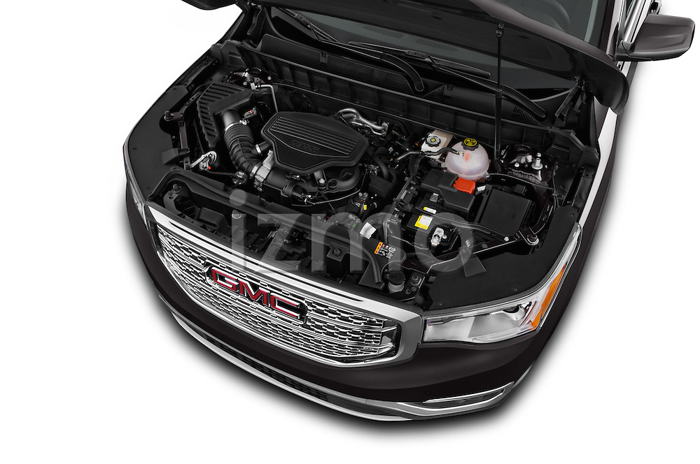 Car Stock 2017 GMC Acadia Denali 5 Door SUV Engine  high angle detail view