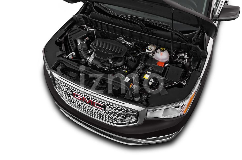 Car Stock 2018 GMC Acadia Denali 5 Door SUV Engine  high angle detail view