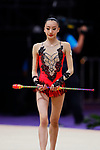 Chisaki Oiwa (JPN), <br /> AUGUST 27, 2018 - Gymnastics - Rhythmic : <br /> Individual All-Around Qualification Clubs <br /> at JIEX Kemayoran Hall D <br /> during the 2018 Jakarta Palembang Asian Games <br /> in Jakarta, Indonesia. <br /> (Photo by Naoki Morita/AFLO SPORT)