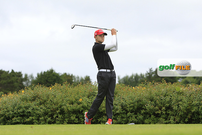Dara Phelan (Faithlegg) on the 18th tee during R1 of the 2016 Connacht U18 Boys Open, played at Galway Golf Club, Galway, Galway, Ireland. 05/07/2016. <br /> Picture: Thos Caffrey | Golffile<br /> <br /> All photos usage must carry mandatory copyright credit   (&copy; Golffile | Thos Caffrey)