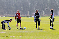 Pictured: Goalkeeper coach Adrian Tucker (2nd L) with goalkeepers L-R Gerhard Tremmel, Michel Vorm and Jose Moreira.  Friday, 23 March 2012<br />