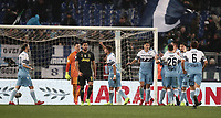 Football, Serie A: S.S. Lazio - Juventus, Olympic stadium, Rome, January 27, 2019. <br /> Lazio's players celebrate after Juventus' Emre Can scored an own goal during the Italian Serie A football match between S.S. Lazio and Juventus at Rome's Olympic stadium, Rome on January 27, 2019.<br /> UPDATE IMAGES PRESS/Isabella Bonotto