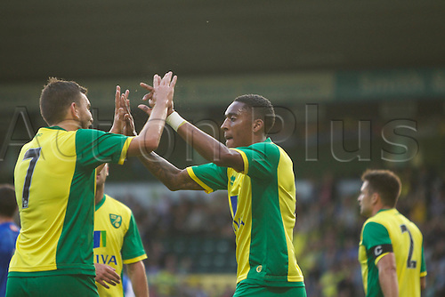 06.08.13 Norwich, England.  Robert Snodgrass of Norwich City celebrates during the Pre Season Friendly between Norwich and Real Sociedad from Carrow Road.Robert Snodgrass
