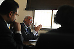 Palestinian Chief Negotiator Saeb Erekat, leads a meeting with his staff at the Negotiations Affairs Department in Ramallah, West Bank.<br />
