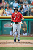 Mike Tauchman (18) of the Albuquerque Isotopes bats against the Salt Lake Bees in Pacific Coast League action at Smith's Ballpark on June 10, 2017 in Salt Lake City, Utah. The Isotopes defeated the Bees 4-2. (Stephen Smith/Four Seam Images)