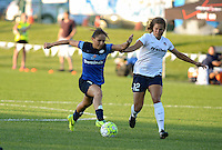 Kansas City, MO - Saturday July 16, 2016: Lo'eau LaBonta, Katie Stengel during a regular season National Women's Soccer League (NWSL) match at Swope Soccer Village.