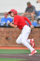 Johnson City Cardinals second baseman J.D. Murders (8) runs to first base during a game against the Danville Braves at TVA Credit Union Ballpark on July 23, 2017 in Johnson City, Tennessee. The Cardinals defeated the Braves 8-5. (Tony Farlow/Four Seam Images)