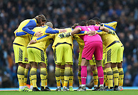 2nd November 2019; Etihad Stadium, Manchester, Lancashire, England; English Premier League Football, Manchester City versus Southampton; the Southampton players from a huddle before the kick off - Strictly Editorial Use Only. No use with unauthorized audio, video, data, fixture lists, club/league logos or 'live' services. Online in-match use limited to 120 images, no video emulation. No use in betting, games or single club/league/player publications