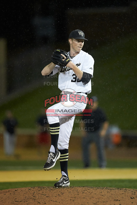 Wake Forest Demon Deacons relief pitcher William Fleming (38) in action against the Davidson Wildcats at David F. Couch Ballpark on May 7, 2019 in  Winston-Salem, North Carolina. The Demon Deacons defeated the Wildcats 11-8. (Brian Westerholt/Four Seam Images)
