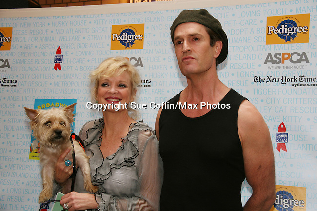 """Christine Ebersole - OLTL and castmate Rubert Everett in Broadway's Blithe Spirit at Broadway Barks 11 - a """"Pawpular"""" star-studded dog and cat adopt-a-thon on July 11, 2009 in Shubert Alley, New York City, NY. (Photo by Sue Coflin/Max Photos)"""