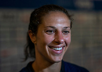 ORLANDO, FL - MARCH 05: Carli Lloyd #10 of the United States talks to the media during a game between England and USWNT at Exploria Stadium on March 05, 2020 in Orlando, Florida.