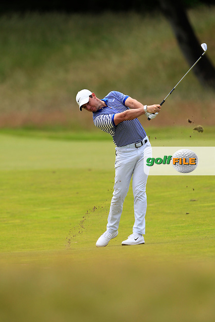 Rory McIlroy (NIR) on the 2nd during Round 4 of the Aberdeen Standard Investments Scottish Open 2019 at The Renaissance Club, North Berwick, Scotland on Sunday 14th July 2019.<br /> Picture:  Thos Caffrey / Golffile<br /> <br /> All photos usage must carry mandatory copyright credit (© Golffile   Thos Caffrey)