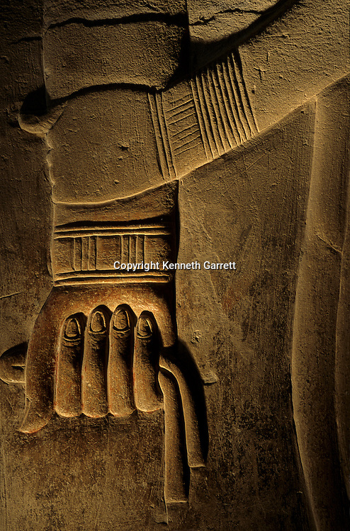 Egypt's Old Kingdom, Clasped hand of the official Khudu-Khaf, detail from tomb in cemetery East of Khufu's pyramid, Giza, Egypt