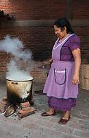 Maria Luisa Mendoza de Cruz (Fidel's wife) prepares Tamal de Amarillo de pollo con hoja de milpa a local speciality at the house of Master dyer and rug weaver Fidel Cruz Lazo, Casa Cruz, Avenida Juarez 190, Teotitlan del Valle, Oaxaca, Mexico