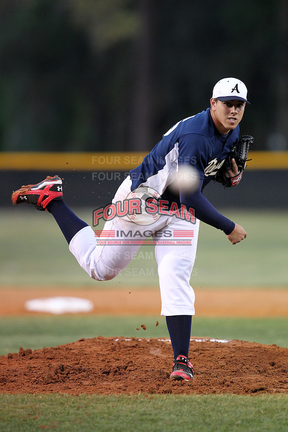 Alonso High School senior pitcher Jose Fernandez #16 delivers a pitch during a game vs Brandon High School at Brandon High School in Brandon, Florida;  March 18, 2011.  Photo By Mike Janes/Four Seam Images