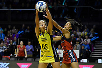 Pulse&rsquo; Aliyah Dunn and Tactix&rsquo; Temalisi Fakahokotau in action during the ANZ Premiership - Pulse v Tactix at TSB Arena, Wellington, New Zealand on Monday 14 May 2018.<br /> Photo by Masanori Udagawa. <br /> www.photowellington.photoshelter.com