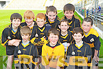 Talented Glenbeigh NS footballers at the Cumann na mBunscoil County mini-sevens finals in Fitzgerald Stadium, Killarney on Friday front row: Daniel McGillicuddy, Liam Fleming, Patrick Griffin. Middle row: Gearoid Griffin, Padraig McMahon, Sean Sheehan, Darragh Casey, Rian O'Donovan, Sean Coffey and Craig Corbett.