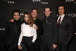"""Brandon Uranowitz, Keri Russell, Michael Mayer, David Furr and Adam Driver attends the Broadway Opening Celebration for Landford Wilson's """"Burn This""""  at Hudson Theatre on April 15, 2019 in New York City."""