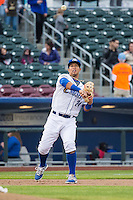 Cheslor Cuthbert (24) of the Omaha Storm Chasers during the game against the Memphis Redbirds in Pacific Coast League action at Werner Park on April 24, 2015 in Papillion, Nebraska.  (Stephen Smith/Four Seam Images)