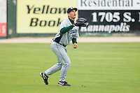Left fielder Jacob Goebbert #24 of the Lexington Legends lines up a fly ball at Fieldcrest Cannon Stadium April 14, 2010, in Kannapolis, North Carolina.  Photo by Brian Westerholt / Four Seam Images