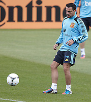 POLAND - Gniewino - 06 JUNE 2012 - Spain Training Session at Gniewino. Xavi Hernández touching the ball.
