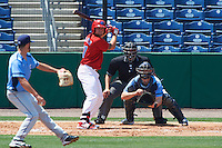 Clearwater Threshers designated hitter Kyle Martin (27) awaits a pitch from Hunter Wood (3) while at bat in front of catcher Mac James (8) and umpire Mike Savakinas during a game against the Charlotte Stone Crabs on April 13, 2016 at Bright House Field in Clearwater, Florida.  Charlotte defeated Clearwater 1-0.  (Mike Janes/Four Seam Images)
