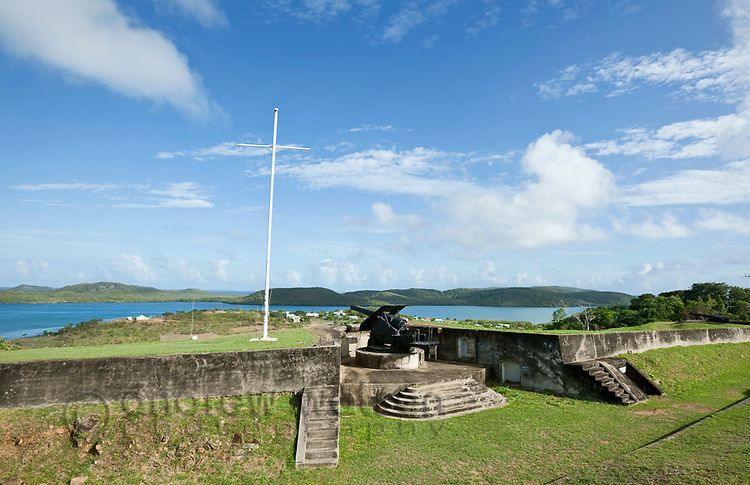 Gun battery at Green Hill Fort.  The fort was built in 1893 to protect against a Russian invasion.  Thursday Island, Torres Strait Islands, Queensland, Australia