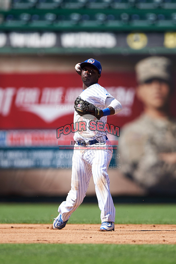 South Bend Cubs shortstop Andruw Monasterio (6) throws to first during the second game of a doubleheader against the Peoria Chiefs on July 25, 2016 at Four Winds Field in South Bend, Indiana.  South Bend defeated Peoria 9-2.  (Mike Janes/Four Seam Images)