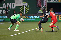 Portland, OR - Saturday August 18, 2018: Adrianna Franch (24), Sam Kerr (20), Emily Sonnett (16) during a regular season National Women's Soccer League (NWSL) match between the Portland Thorns FC and the Chicago Red Stars at Providence Park.