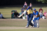Simon Harmer of Essex lofts straight down the ground during Upminster CC vs Essex CCC, Benefit Match Cricket at Upminster Park on 8th September 2019