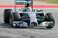 Lewis Hamilton of Mercedes AMG Petronas F1 driving (44) F1 WO5 Hybrid during 2014 Formula 1 United States Grand Prix race, Sunday, November 02, 2014 in Austin, Tex. (Mo Khursheed/TFV Media via AP Images)
