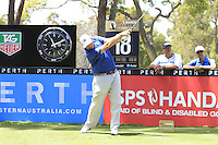 Anthony Wall (ENG) on the 18th tee during Round 1 of the ISPS HANDA Perth International at the Lake Karrinyup Country Club on Thursday 23rd October 2014.<br /> Picture:  Thos Caffrey / www.golffile.ie