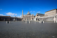 Saint Peter was closed to the tourists, and patrolled by police<br /> Rome March 12th 2020. Rome the day after the last Coronavirus decree, that increase the restrictions of the march 9th decree. All the shops, bars, restaurants and pubs will have to stay close, apart for the ones of public utility as pharmacies, supermarkets and tobacco stores. People are requested to stay at home and go out just to buy food or medicines. In city centre, police officers warn the few tourists and passers to stay into the hotels or at home and to get out just to find food. <br /> Photo Samantha Zucchi Insidefoto