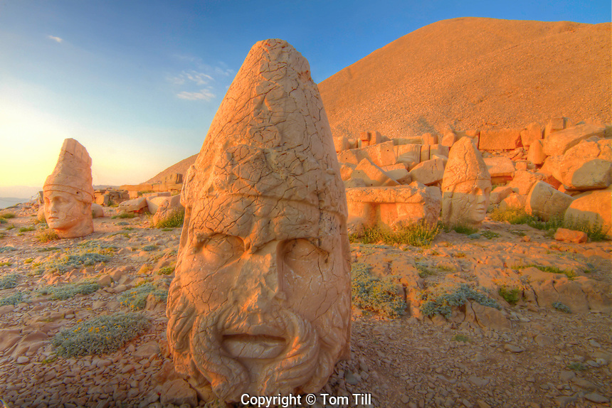Huge Zeus sculpture, Mt. Nemrut National Park, Turkey, Ancient remnants of 2000 year old Commagene culture on 7,000 foot mountain top, UNESCO World Heritage Site