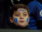 A young Everton fan with Rooney painted on his face during the premier league match at the Goodison Park Stadium, Liverpool. Picture date 2nd December 2017. Picture credit should read: Simon Bellis/Sportimage