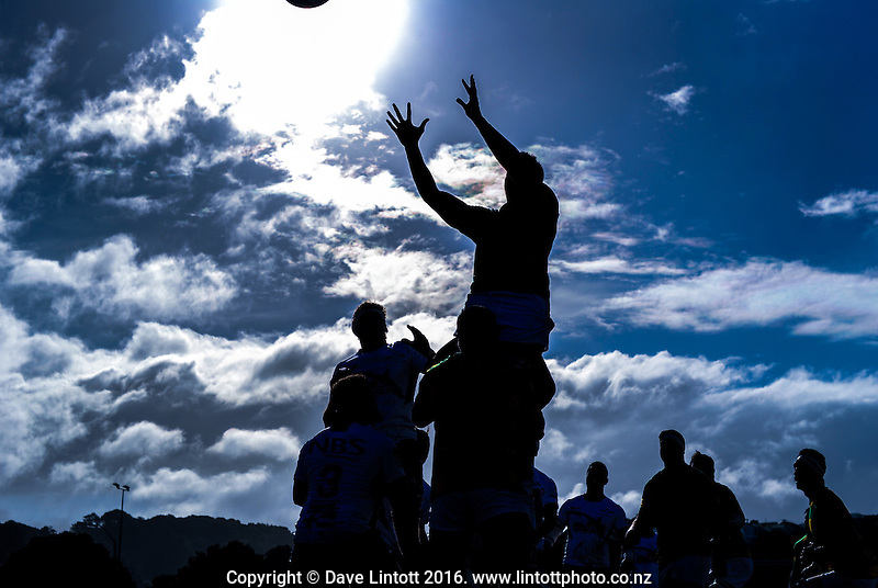 Lineout action during the Mitre Ten Cup rugby union preseason match between Wellington Lions and Tasman at Evans Bay Park, Wellington, New Zealand on Wednesday, 3 August 2016. Photo: Dave Lintott / lintottphoto.co.nz