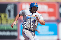 Michael McKenry (7) of the Durham Bulls hustles towards third base against the Lehigh Valley Iron Pigs at Coca-Cola Park on July 30, 2017 in Allentown, Pennsylvania.  The Bulls defeated the IronPigs 8-2.  (Brian Westerholt/Four Seam Images)