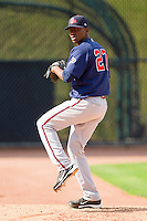 Gwinnett Braves starting pitcher Julio Teheran #27 warms-up in the bullpen prior to the International League game against the Charlotte Knights at Knights Stadium on June 3, 2012 in Fort Mill, South Carolina.  The Braves defeated the Knights 5-1.  (Brian Westerholt/Four Seam Images)