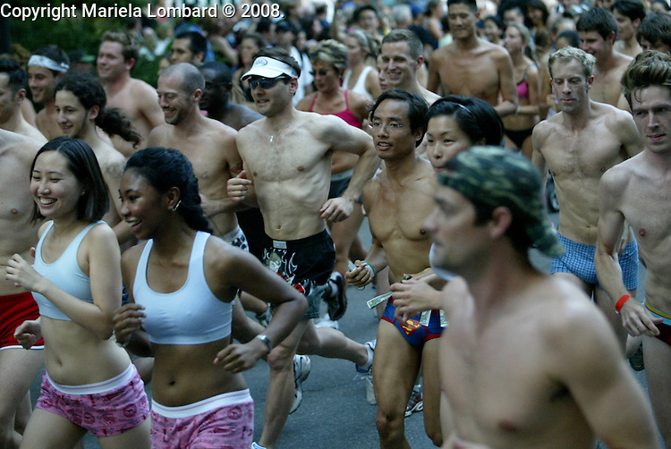 500 Triathletes will run 1.7 miles through Central Park in their underwear..Underwear runs are a tradition in Hawaii to klck off triathlons, and this is the third annual Underwear Run in honor of the 8th annual Nautica NYC Triathlon which is on Sunday, July 20..Photo Credit: Mariela Lombard/ ZUMA Press.