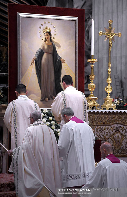 Quadro della Madonna del Miracolo  Chiesa di S. Andrea delle Fratte, Roma.Pope Francis Vespers and Te Deum prayers in Saint Peter's Basilica at the Vatican. on December 31, 2016