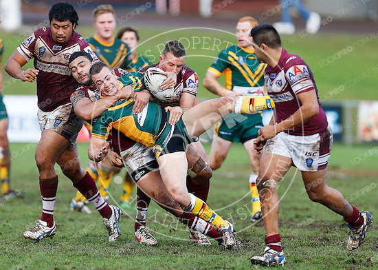 The Wyong Roos play the Manly Sea Eagles during Round 12 of the VB NSW Cup at Morrie Breen Oval on June 2, 2013 in Kanwal, Central Coast, NSW Australia. (Photo by Paul Barkley/LookPro)
