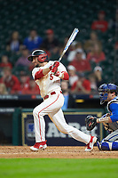Connor Hollis (5) of the Houston Cougars follows through on his swing against the Kentucky Wildcats in game two of the 2018 Shriners Hospitals for Children College Classic at Minute Maid Park on March 2, 2018 in Houston, Texas.  The Wildcats defeated the Cougars 14-2 in 7 innings.   (Brian Westerholt/Four Seam Images)